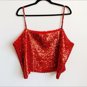 true vintage plus size red sequin tube top